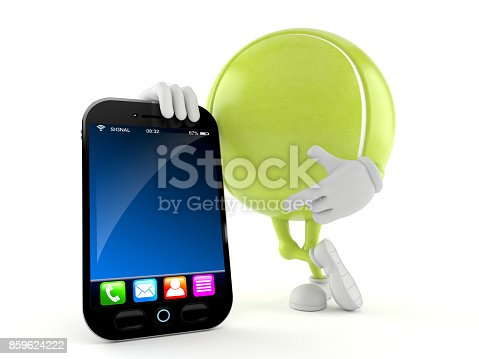 952196272 istock photo Tennis ball character with smart phone 859624222
