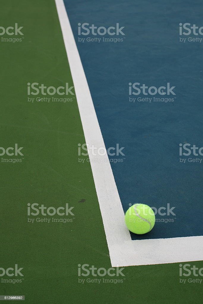 Tennis Ball Green and Blue Court with White Line Corner stock photo