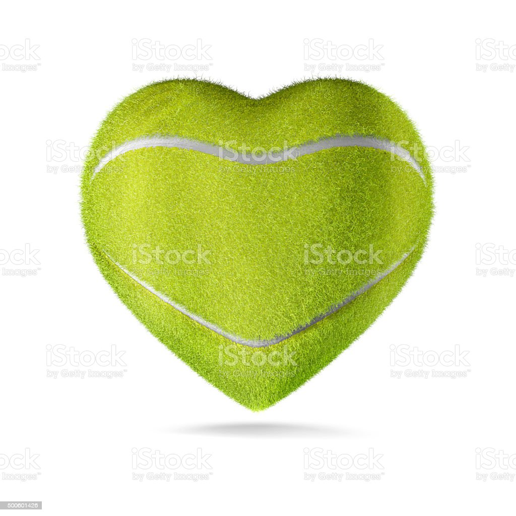 Tennis ball heart stock photo