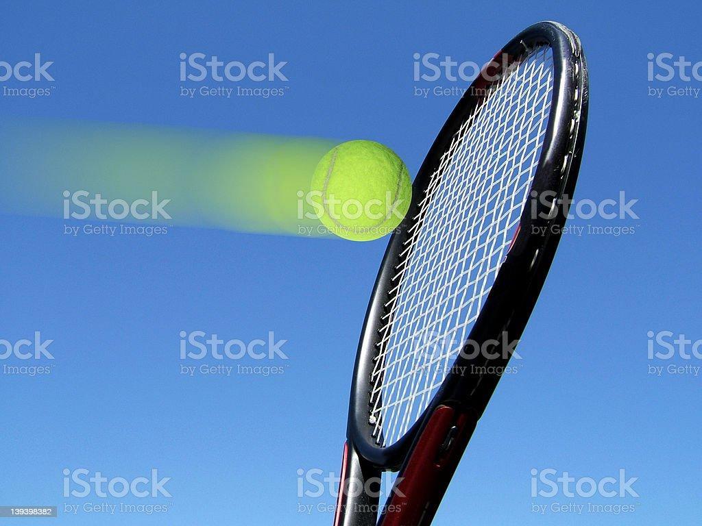 Tennis ball hitting racquet royalty-free stock photo