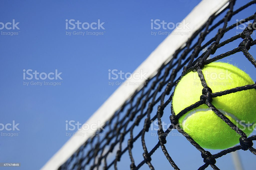 tennis ball in net stock photo