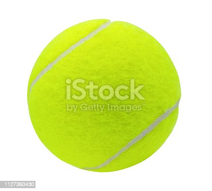 tennis ball isolated on white background with clipping pat,Closeup
