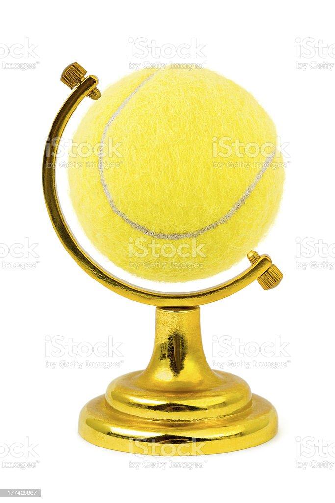 Tennis ball like a globe royalty-free stock photo