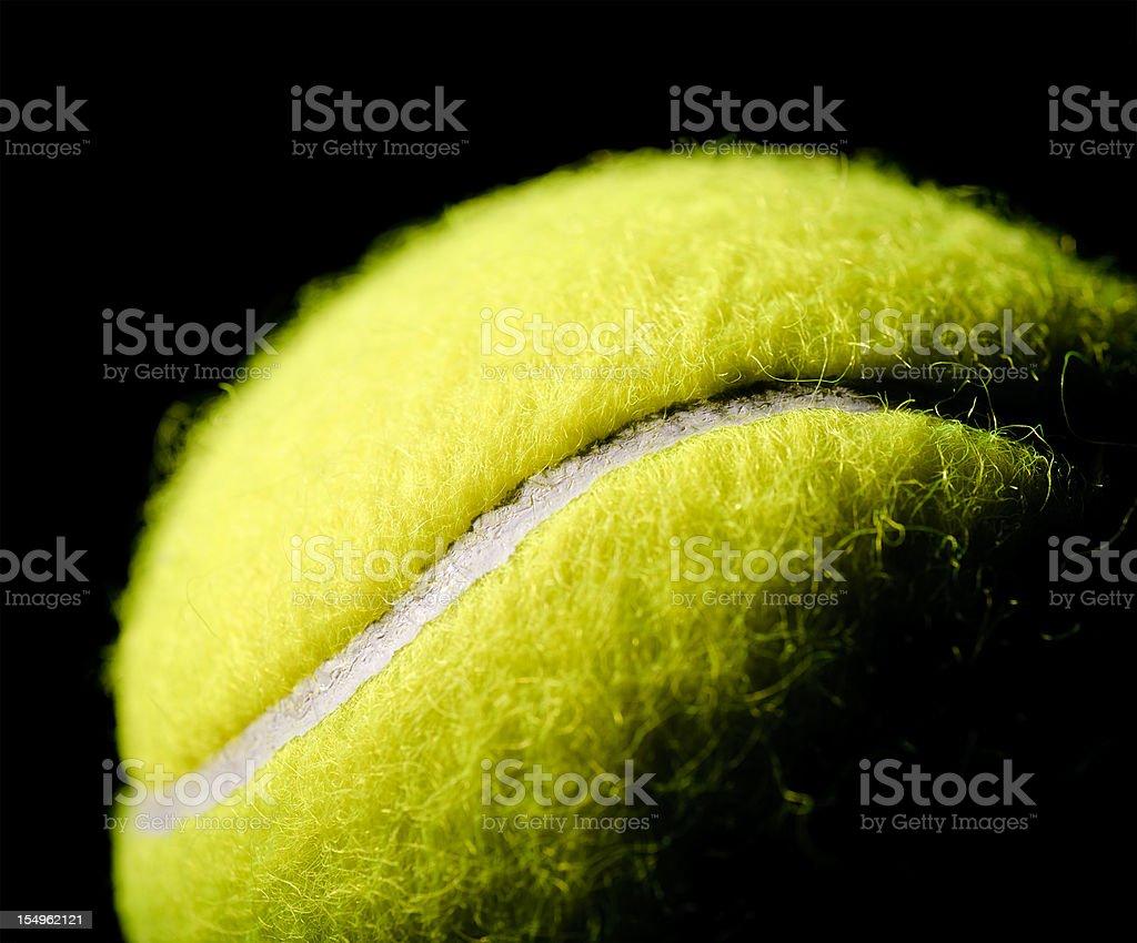 Tennis Ball Macro on Black Background stock photo