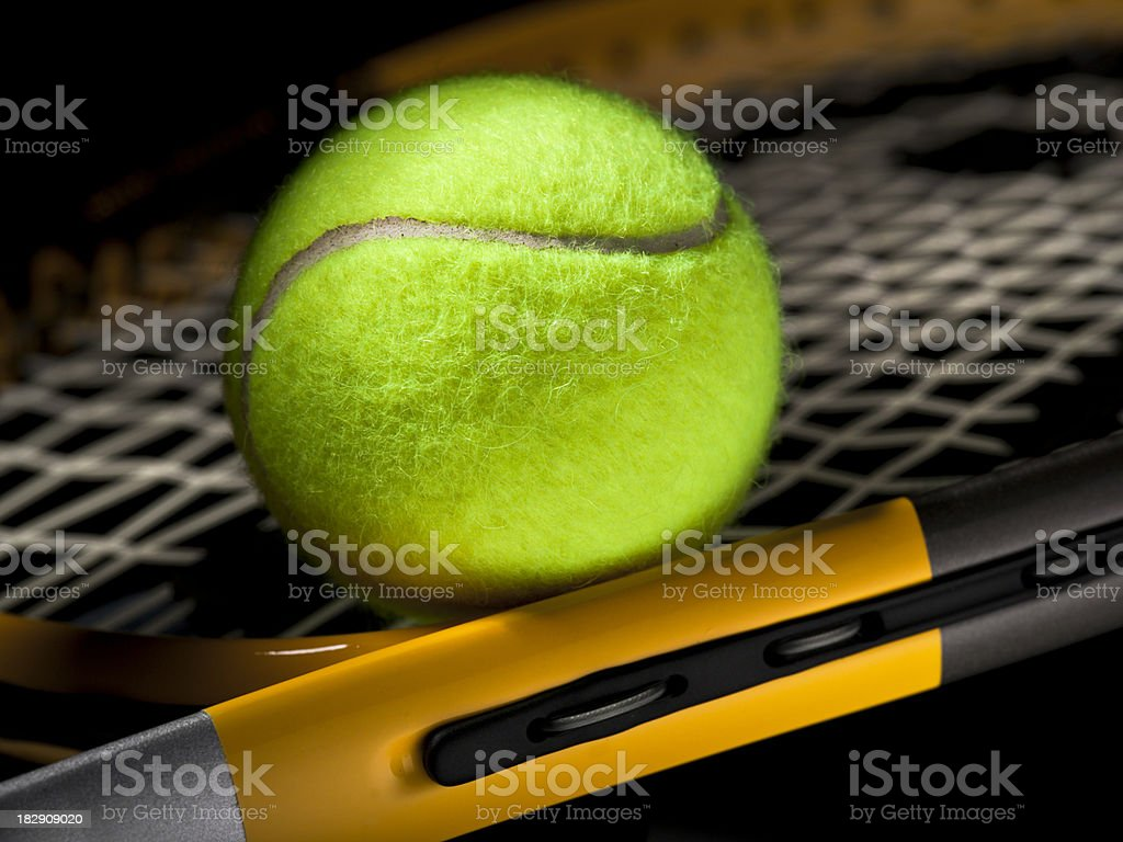 Tennis ball off the court royalty-free stock photo