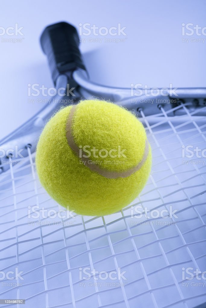 Tennis Ball on a Racket royalty-free stock photo