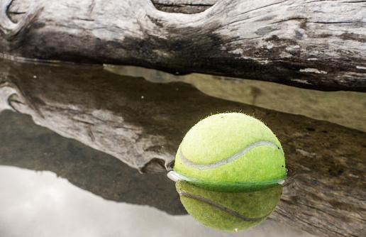 tennis ball on water