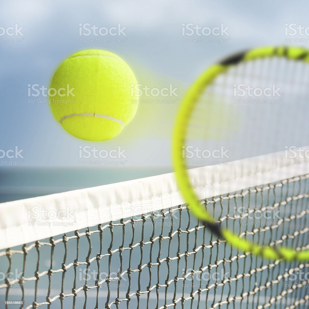 Tennis Ball over Net royalty-free stock photo
