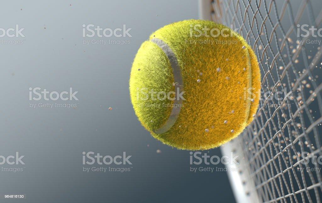 Tennis Ball Striking Racqet In Slow Motion royalty-free stock photo