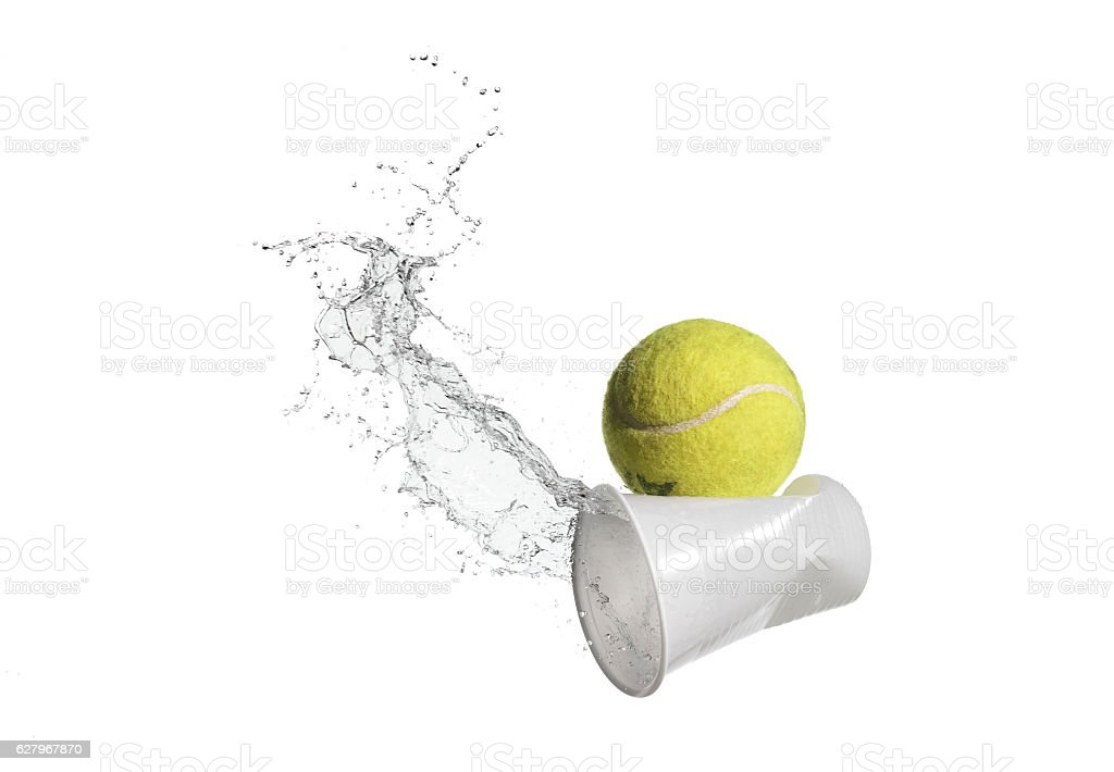 tennis ball water stock photo