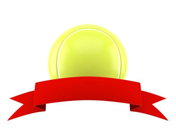 tennisball mit leeren red ribbon - bandanzeige stock-fotos und bilder