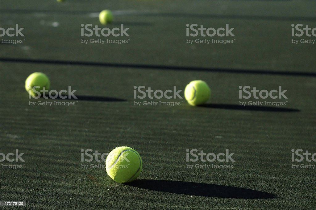 tennis balls and shadows royalty-free stock photo