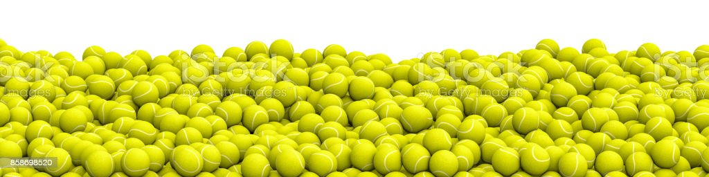 Tennis balls pile panorama stock photo