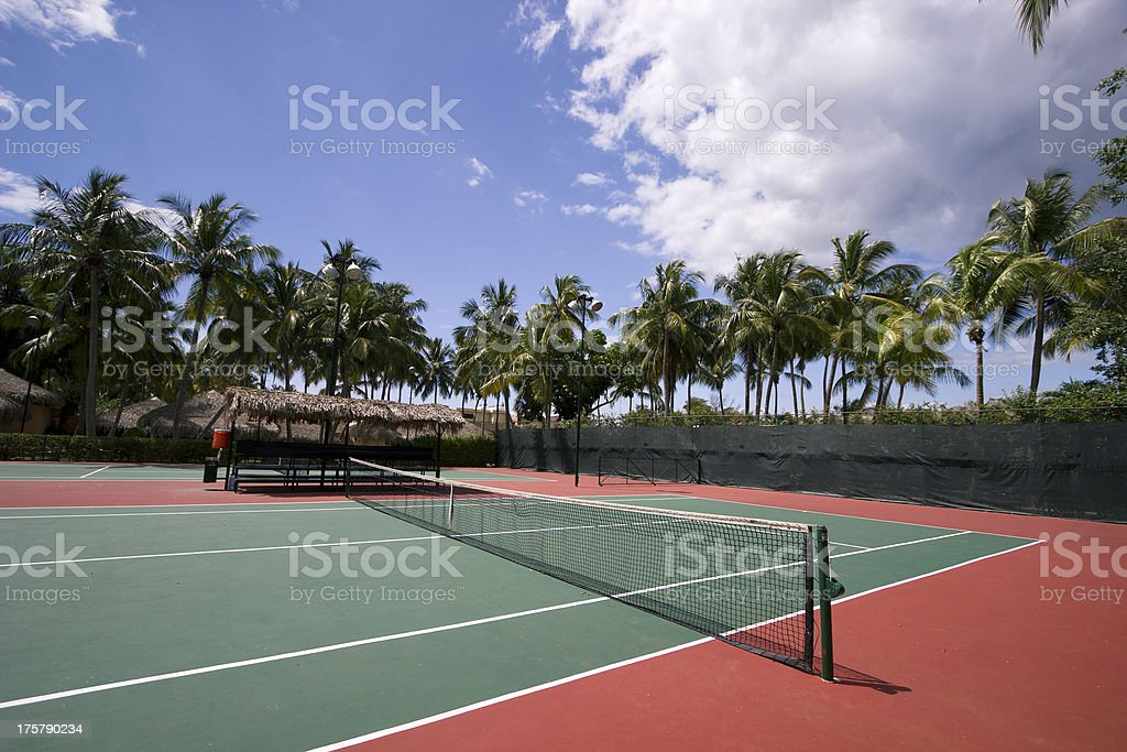 Tennis court in the Caribbean stock photo