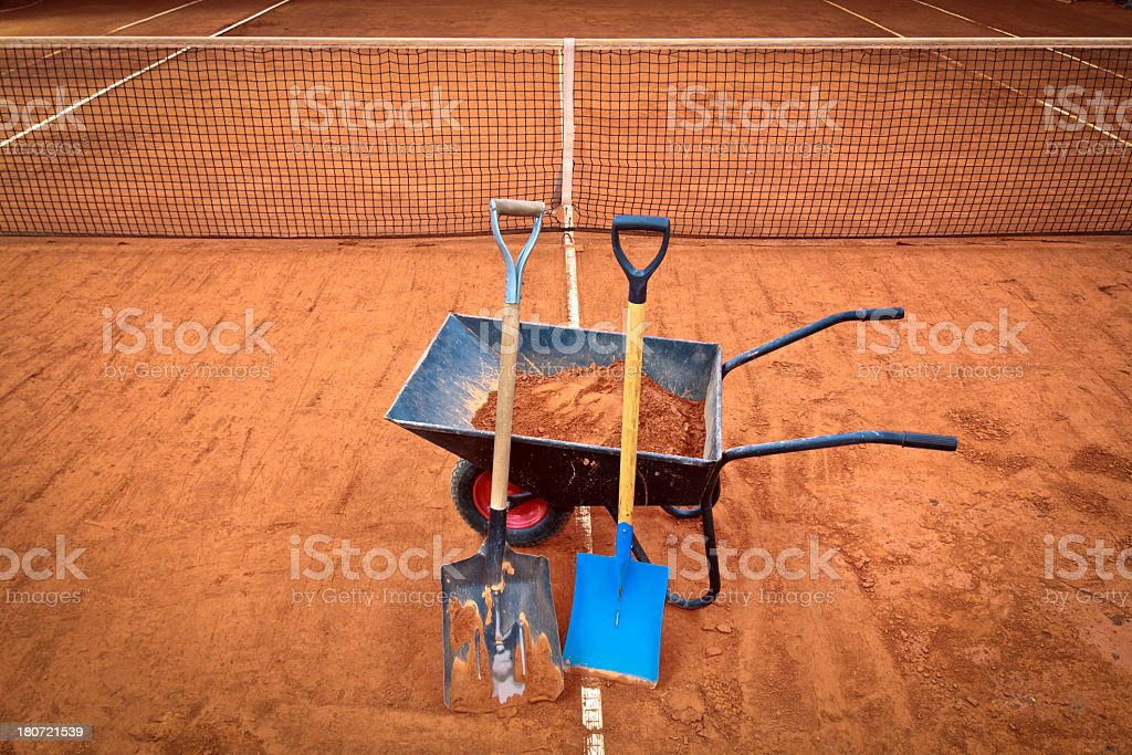 Tennis court in the renovation royalty-free stock photo