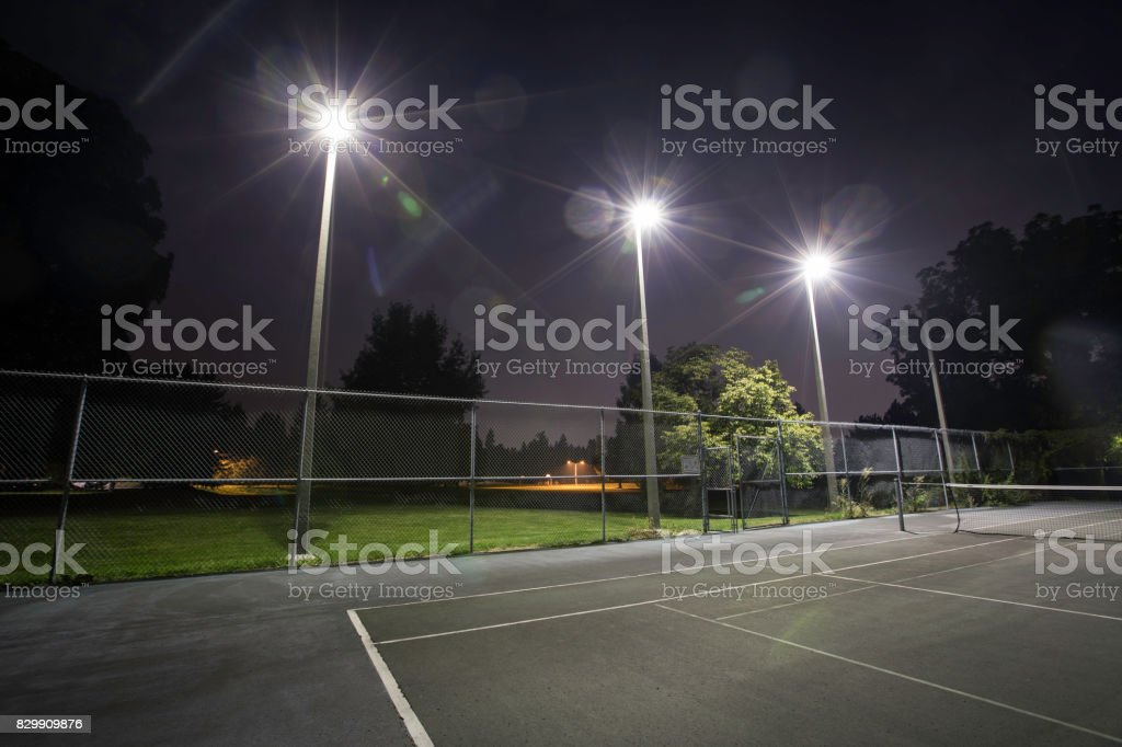 Tennis Court Lights 2 stock photo