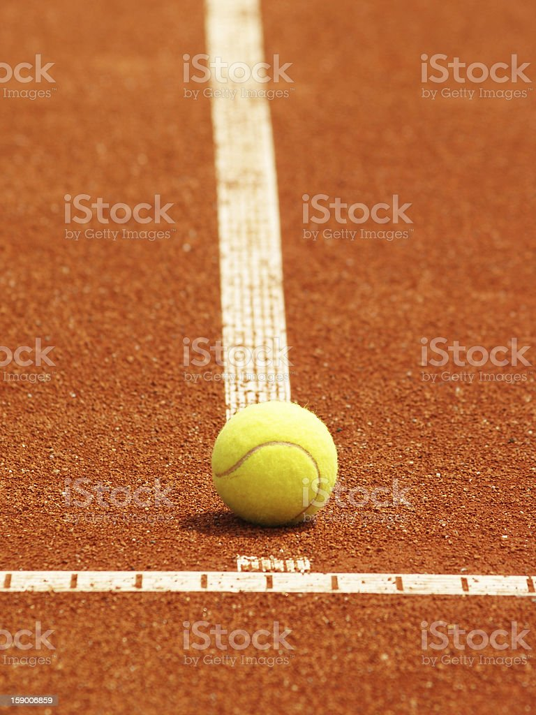tennis court line with ball royalty-free stock photo