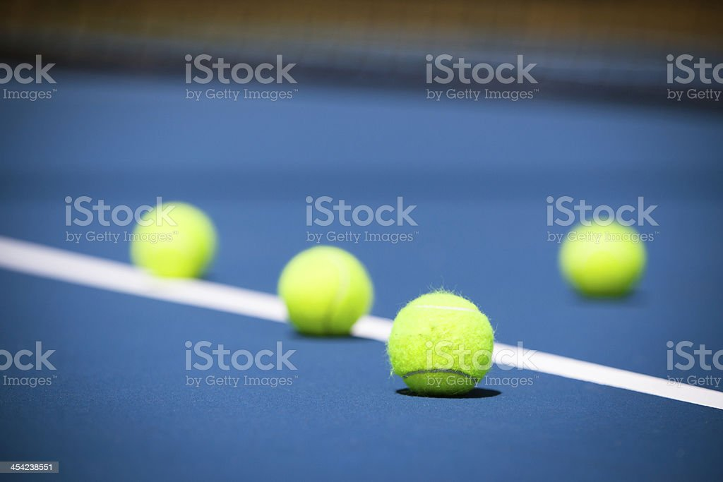 Tennis court with a ball and net closeup in Melbourne, Australia