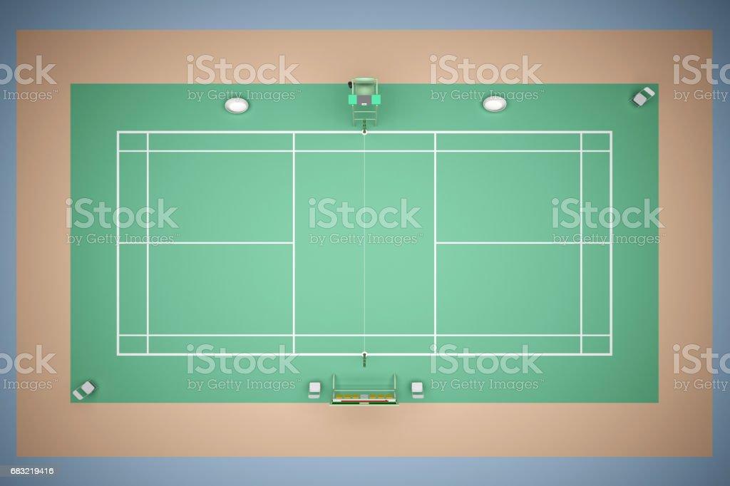 網球場與存貨3d 渲染 免版稅 stock photo