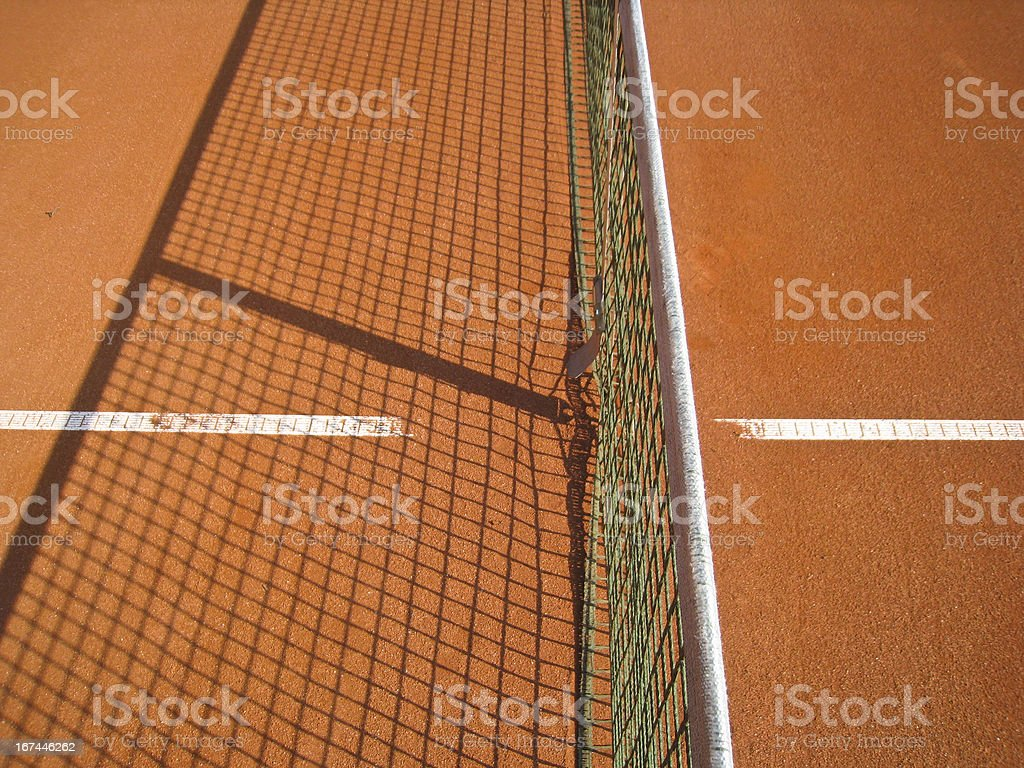 tennis court with line and net shadow royalty-free stock photo
