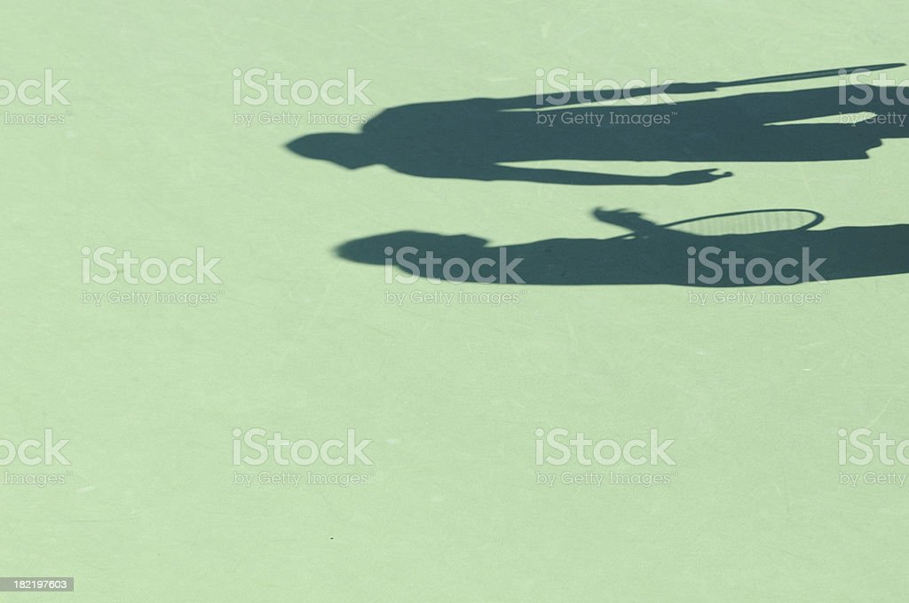 Tennis doubles shadow royalty-free stock photo