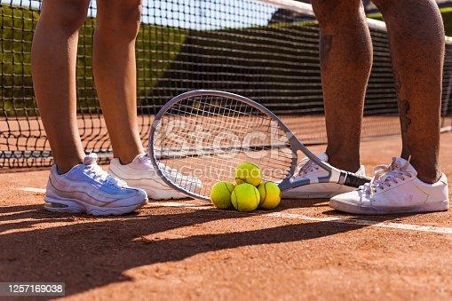 Tennis equipment on a court