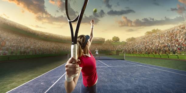 tennis: female sportsman in action - set tennis o pallavolo foto e immagini stock