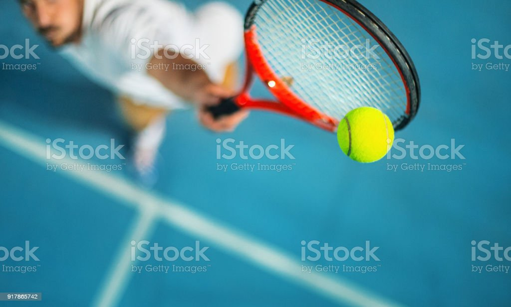 Tennis game at night. stock photo