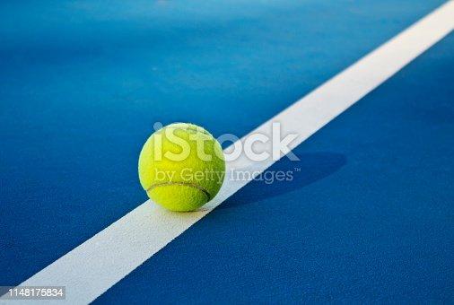 Tennis game. Tennis balls on the tennis court. Sport, recreation concept