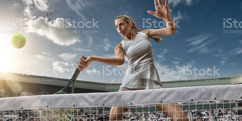 Tennis Girl Hero Ready To Win stock photo