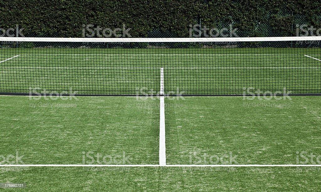 Tennis grass court white markings and net stock photo
