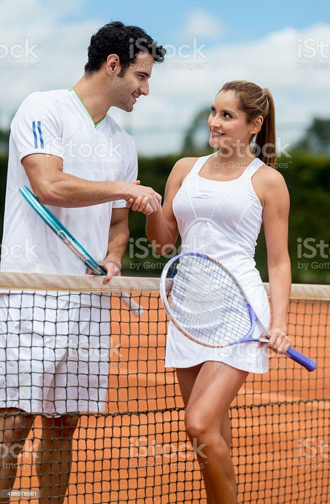 Tennis handshake royalty-free stock photo