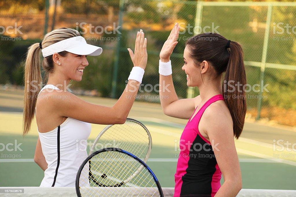 Tennis High-Five stock photo
