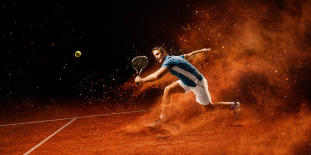 tennis: male sportsman in action - tennis stock photos and pictures