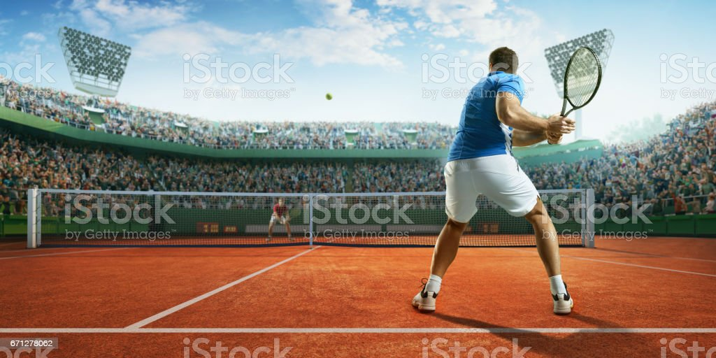 Tennis: Male sportsman in action stock photo
