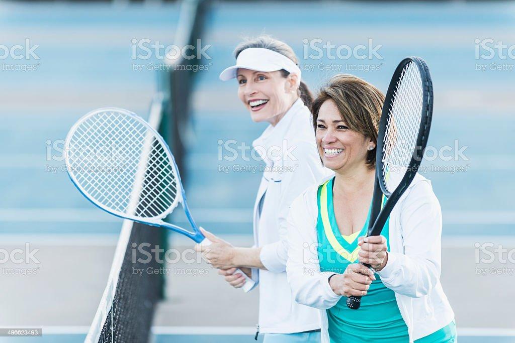 Tennis partners stock photo