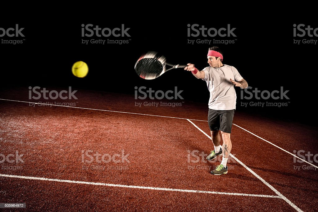 Tennis player action: Forehand stock photo