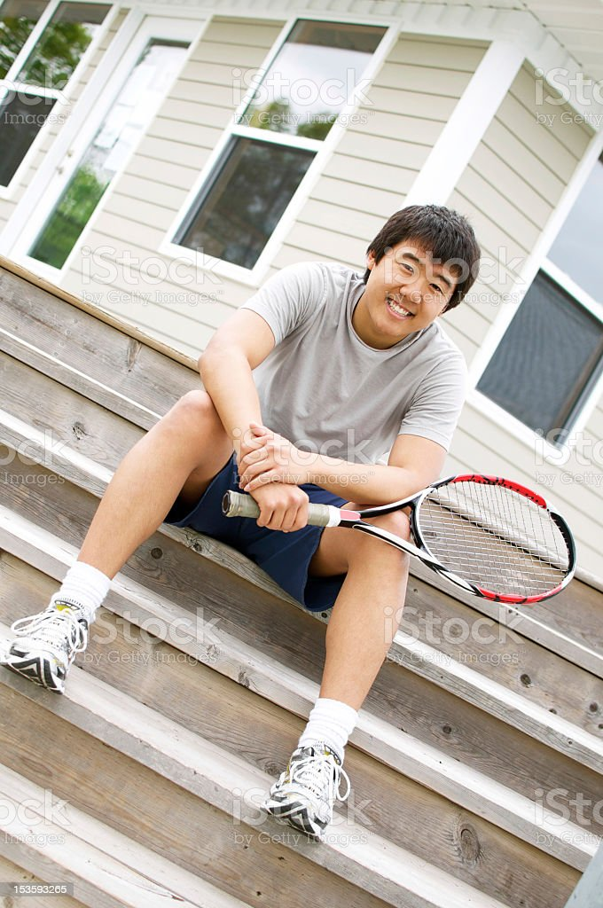 Tennis Player at Clubhouse royalty-free stock photo