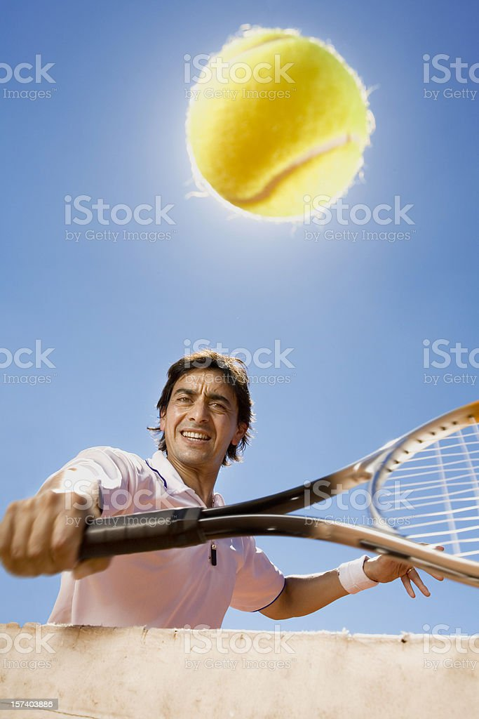 Tennis player at the net royalty-free stock photo