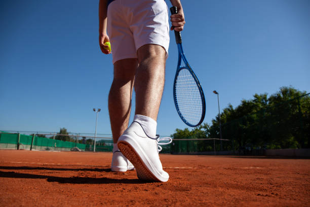 Tennis Player Befor First Service stock photo