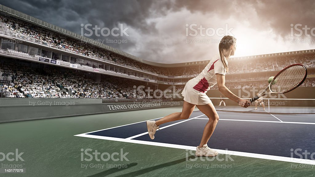 Tennis Player Forehand royalty-free stock photo