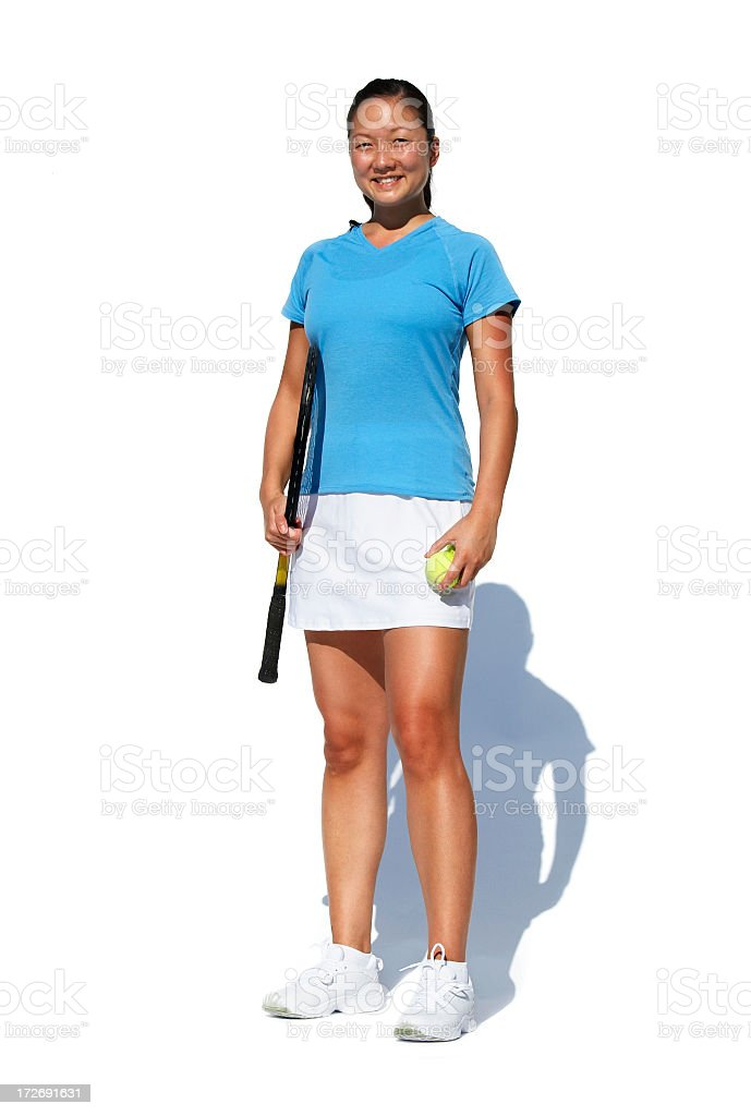 Tennis player isolated on white royalty-free stock photo