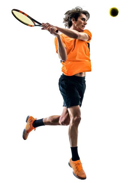 Tennisspieler Silhouette isolierte weiße Hintergrund – Foto