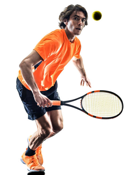 tennis player man silhouette isolated white background stock photo