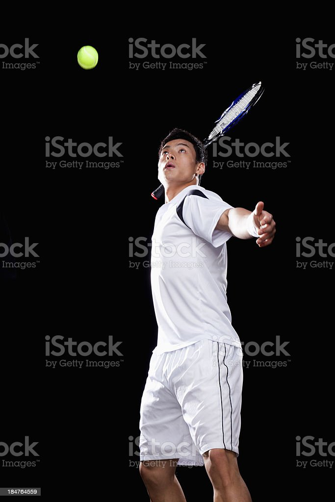 Tennis player ready to hit ball, portrait royalty-free stock photo