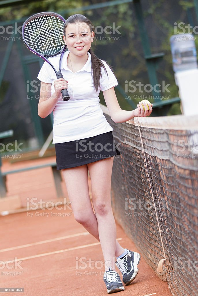 Tennis player ready to play royalty-free stock photo