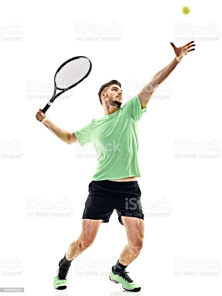 tennis player service serving man isolated stock photo