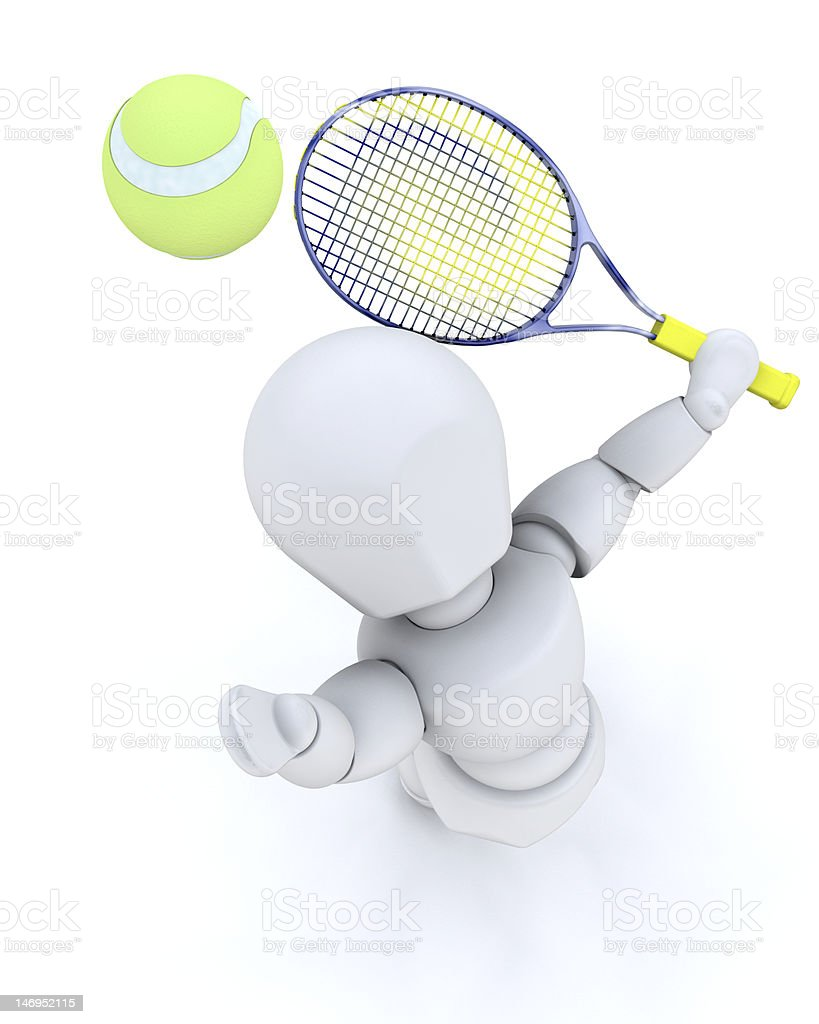 3D tennis player serving royalty-free stock photo