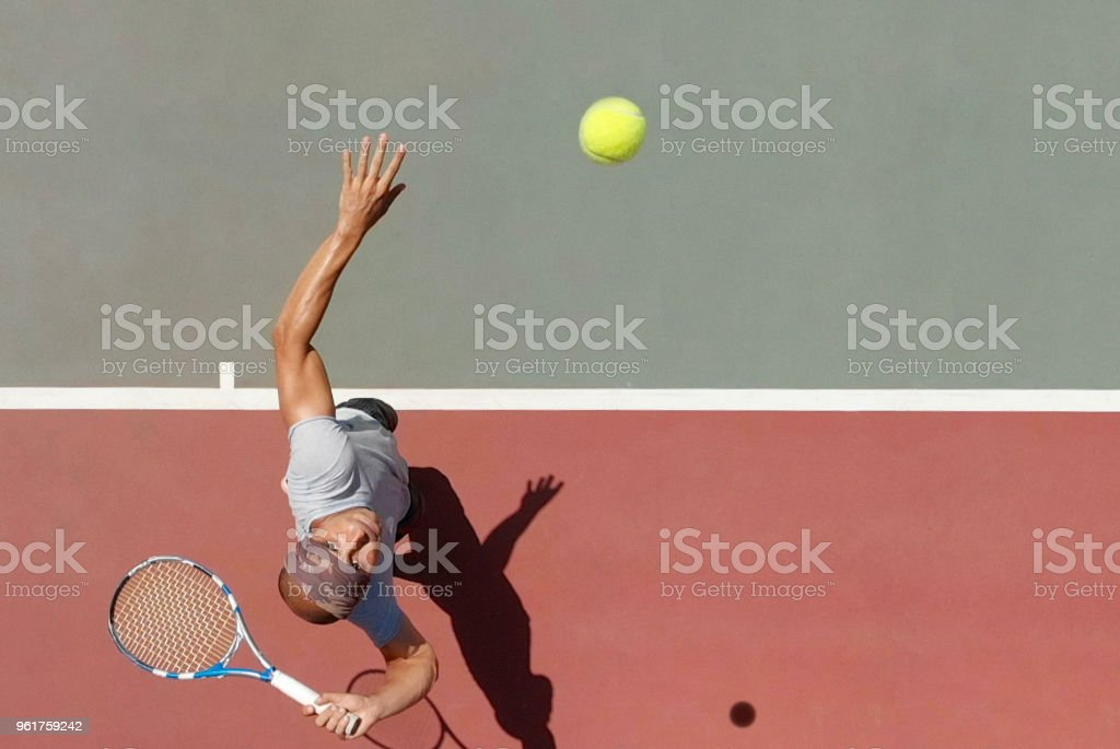 Tennis Player Serving stock photo