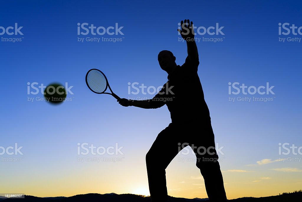 tennis player silhouette royalty-free stock photo